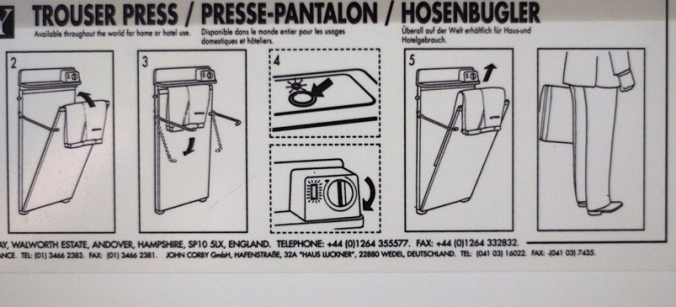 Instructions for a trouser press