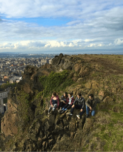Students on Arthurs Seat in Edinburgh