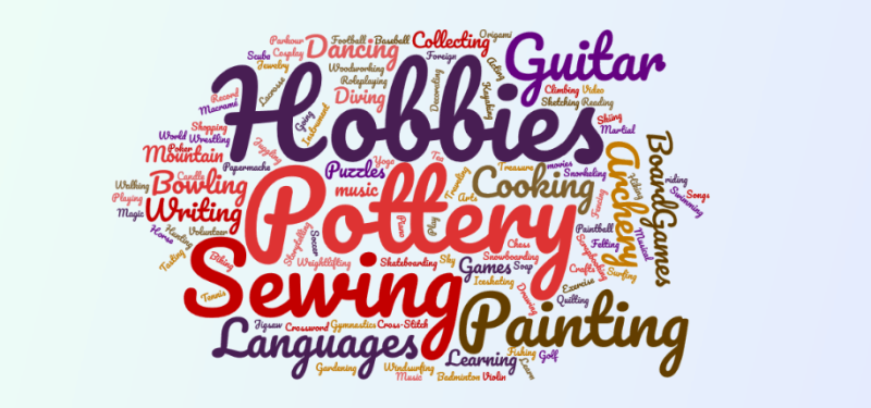 Coloutful word cloud of several hobbies.