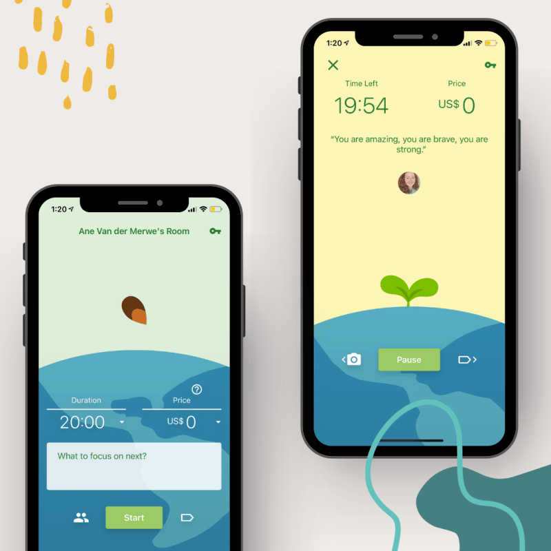 An illustrated graphic depicting two iPhones showing two different views of the app Flora.