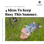 Blog banner, 4 ideas to keep busy this summer with a picture of a person lying in some grass and wildflowers
