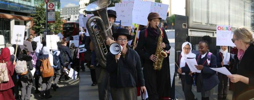 The streets of Whitechapel resonate with sounds of song as Victorian protest takes place