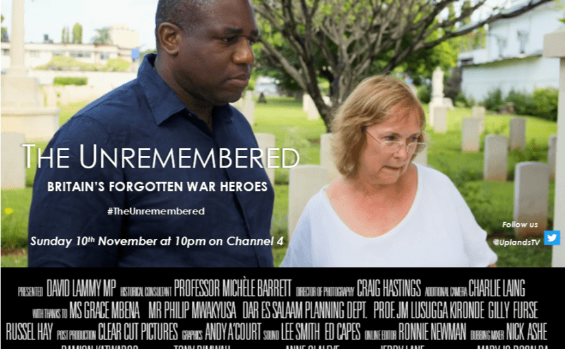 Our very own Michèle Barrett works with David Lammy on Unremembered – Britain's Forgotten War Heroes on Channel 4 on Sunday 10 November for Remembrance Day