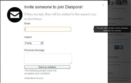 Diaspora E-Mail  invite
