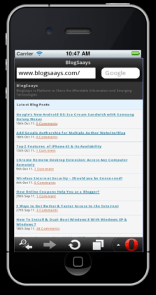 Mobile Website  on iPhone