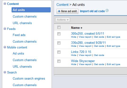 Channels category Google AdSense