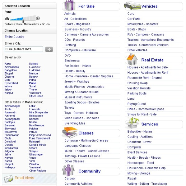 OLX.in Classified,Location Search,Category