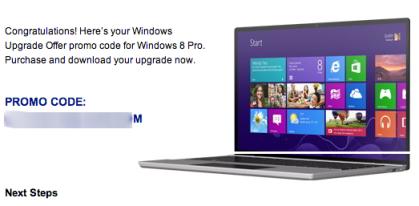 Windows 8 is Promo Code upgrade