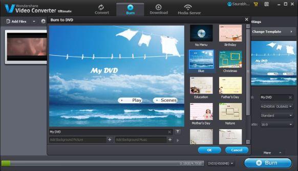 Wondershare Video Converter Ultimate Burn DVD