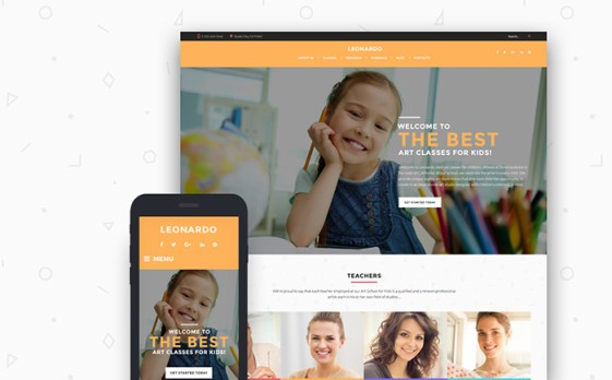 Leonardo Art School for Children WordPress Theme