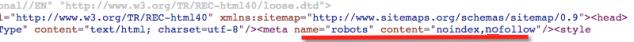 Meta tag index noindex