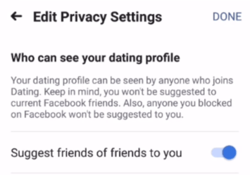 Facebook dating suggestion