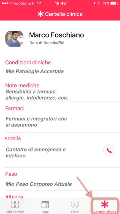 La Più Importante App di e-Health: Esempio di Cartella Clinica