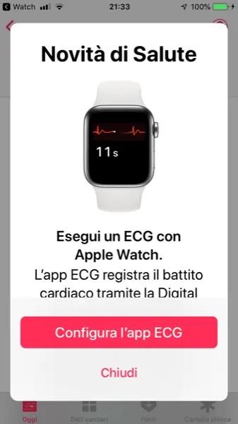 Configurazione dell'App ECG su Apple Watch