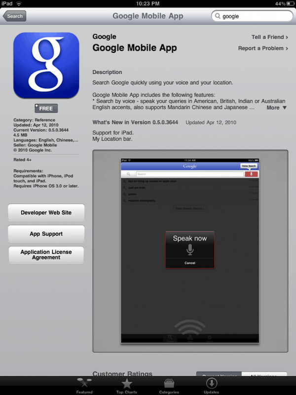 Google Mobile App for iPad