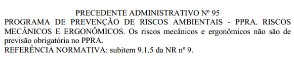 Precedente Administrativo nº 95 - Riscos de Acidentes e Ergonômicos no PPRA
