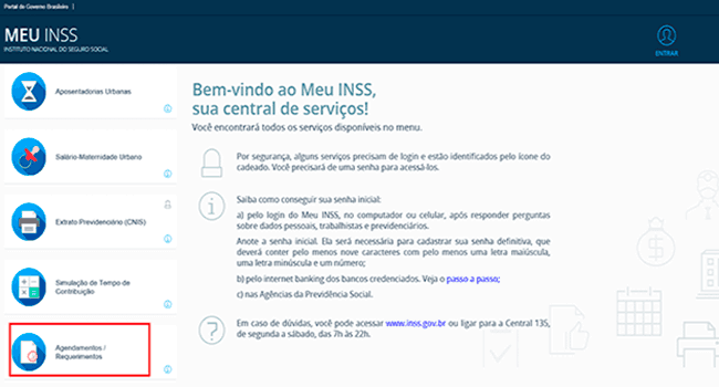 Consultar benefício do INSS pelo CPF :Agendamento/requerimentos
