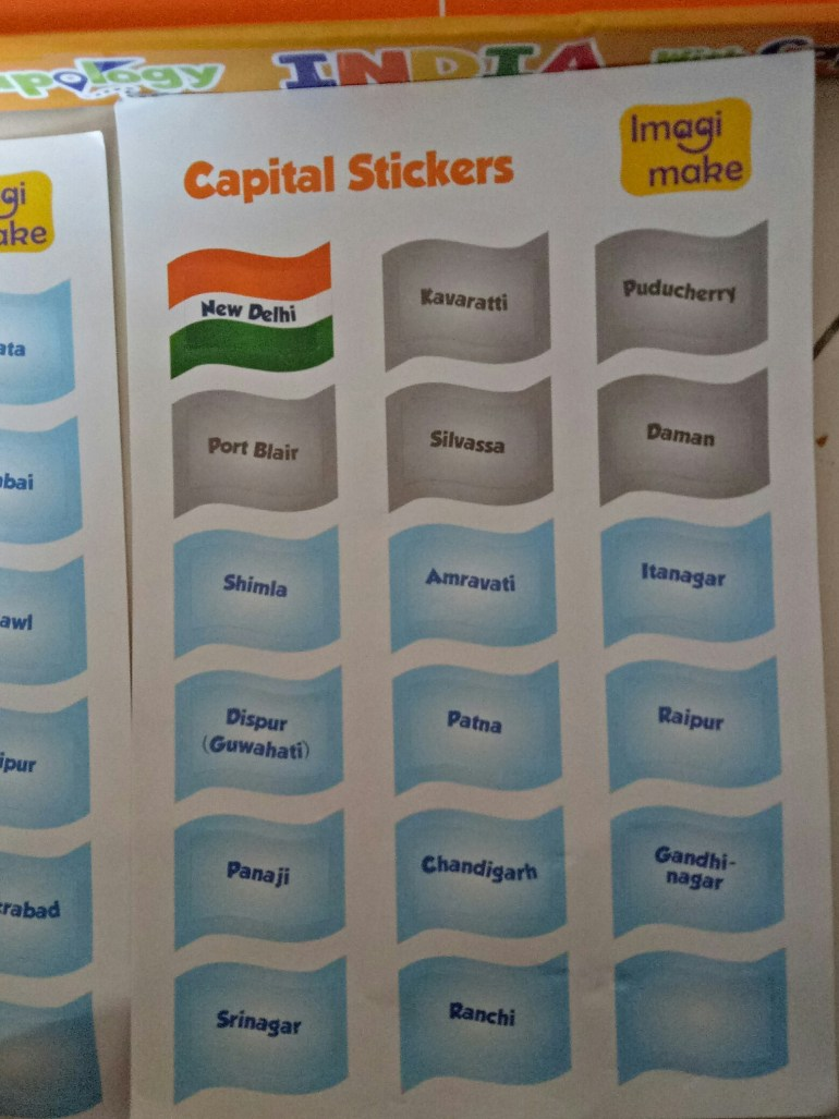 Flags and stickers of Indian map