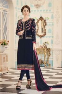 Blue Color Georgette Embroidered Semi-stitched Straight Churidar Suit
