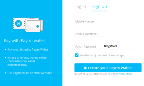 paytm sign up