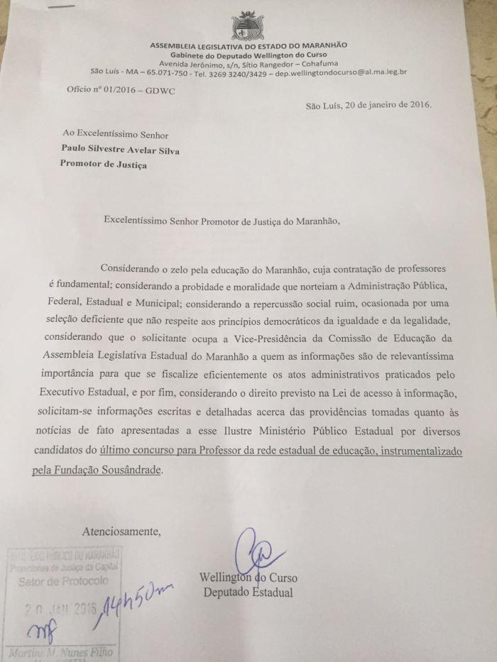 Ofício protocolado por Wellington do Curso no MP foi endereçado ao promotor da Educação. Paulo Avelar
