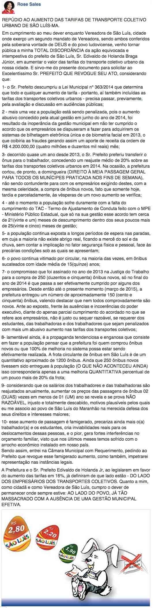 VereadoraRoseSalesCritica