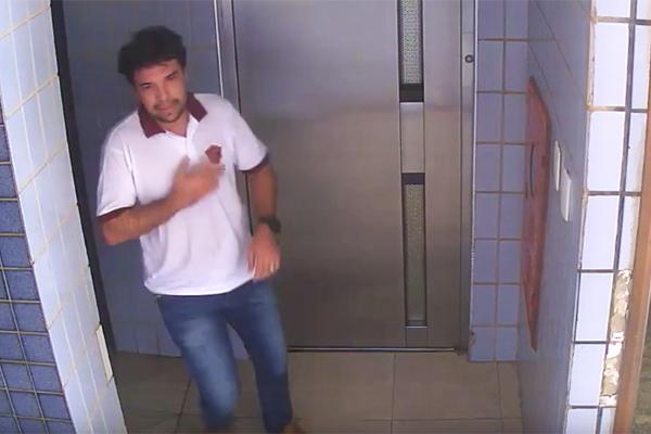 Imagens do circuito de segurança mostram Lucas Porto daixando o local do crime