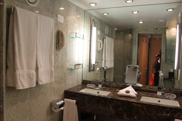 Marble bathrooms with his and her basins