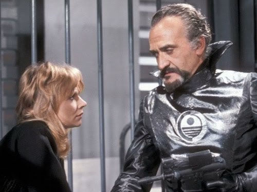 The Master (Roger Delgado) pretending to be the Commissioner from Sirius 4, with Jo (Katy Manning) (c) BBC Studios