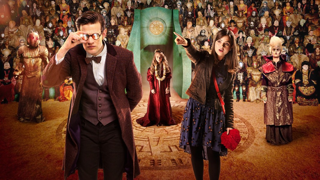 The Doctor (Matt Smith), Clara (Jenna Coleman) and Merry (Emilia Jones) among the alien audience for the Long Song in The Rings of Akhaten (c) BBC Studios
