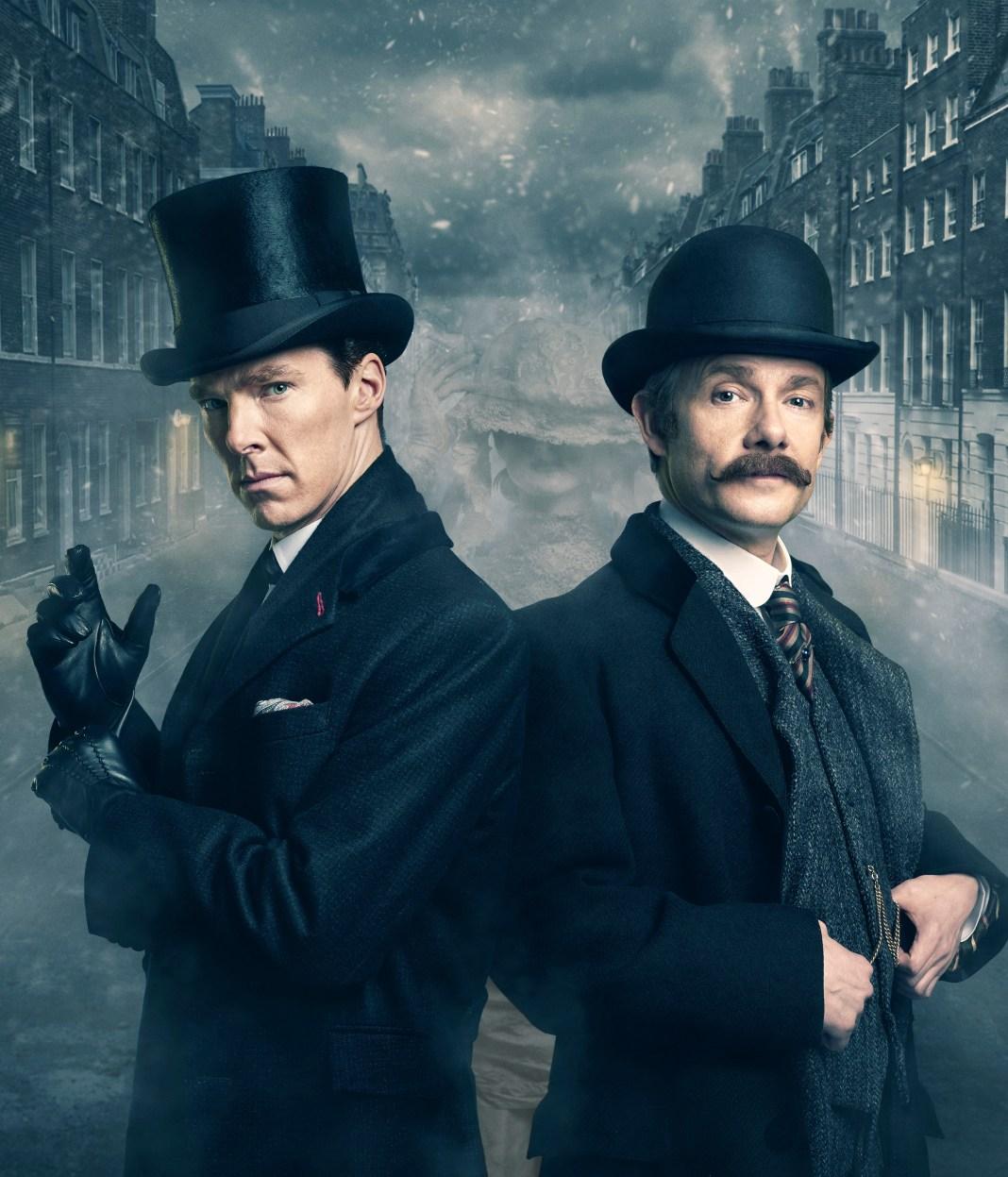 Sherlock - TX: n/a - Episode: n/a (No. n/a) - Picture Shows: Dr John Watson (MARTIN FREEMAN), Sherlock Holmes (BENEDICT CUMBERBATCH) - (C) Hartswood Films - Photographer: Robert Viglasky