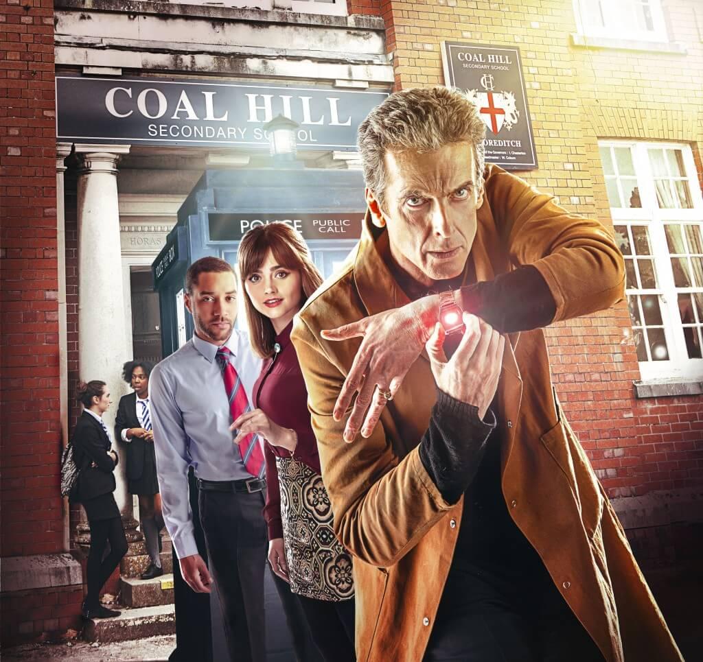 Doctor Who – The Caretaker – Danny Pink (SAMUEL ANDERSON), Clara (JENNA COLEMAN), The Doctor (PETER CAPALDI) – (C) BBC – Photographer: Adrian Rogers
