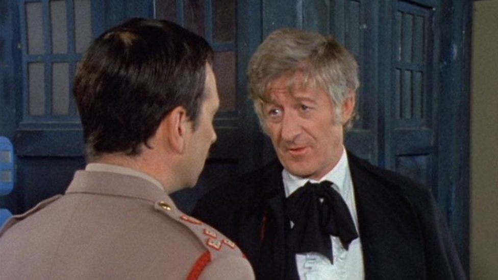 Brigadier Alistair Gordon Lethbridge-Stewart (Nicholas Courtney) and The Doctor (Jon Pertwee) Spearhead From Space