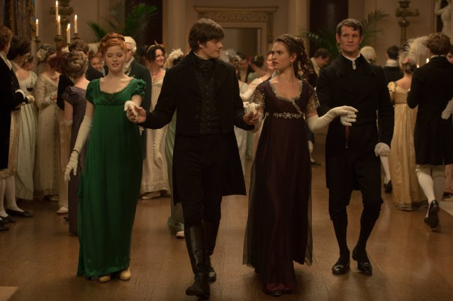Emma Greenwell as Caroline Bingley, Sam Riley as Mr. Darcy, Lily James as Elizabeth Bennet and Matt Smith as Mr. Collins in PRIDE AND PREJUDICE AND ZOMBIES - LIONSGATE UK