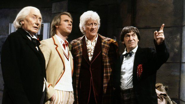 ichard Hurndall (as William Hartnell's first Doctor), Peter Davison, Jon Pertwee and Patrick Troughton in The Five Doctors