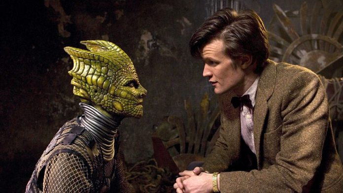 Alaya (Neve McIntosh) and Eleventh Doctor (Matt Smith) - Doctor Who The Hungry Earth (c) BBC