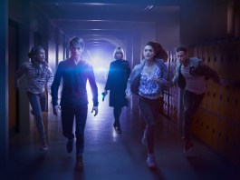 Class - Picture Shows: ** (L-R) Tanya (VIVIAN OPARAH), Charlie (GREG AUSTIN), Miss Quill (KATHERINE KELLY), April (SOPHIE HOPKINS), Ram (FADY ELSAYED) - (C) BBC - Photographer: Todd Antony