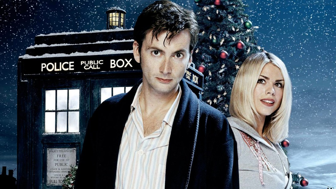 David Tennant as The Doctor with Billie Piper as Rose Tyler - Doctor Who - The Christmas Invasion - BBC - 2005