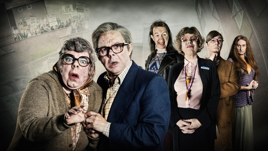 The League of Gentlemen Anniversary Specials - Tubbs (STEVE PEMBERTON), Edward (REECE SHEARSMITH), Mickey (MARK GATISS), Pauline (STEVE PEMBERTON), Ross (REECE SHEARSMITH), Auntie Val (MARK GATISS) - (C) BBC - Photographer: Ben Blackall/James Stack/Matt Burlem