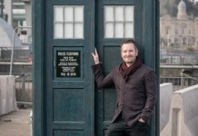 Pete McTighe with the 2018 TARDIS Prop (c) BBC