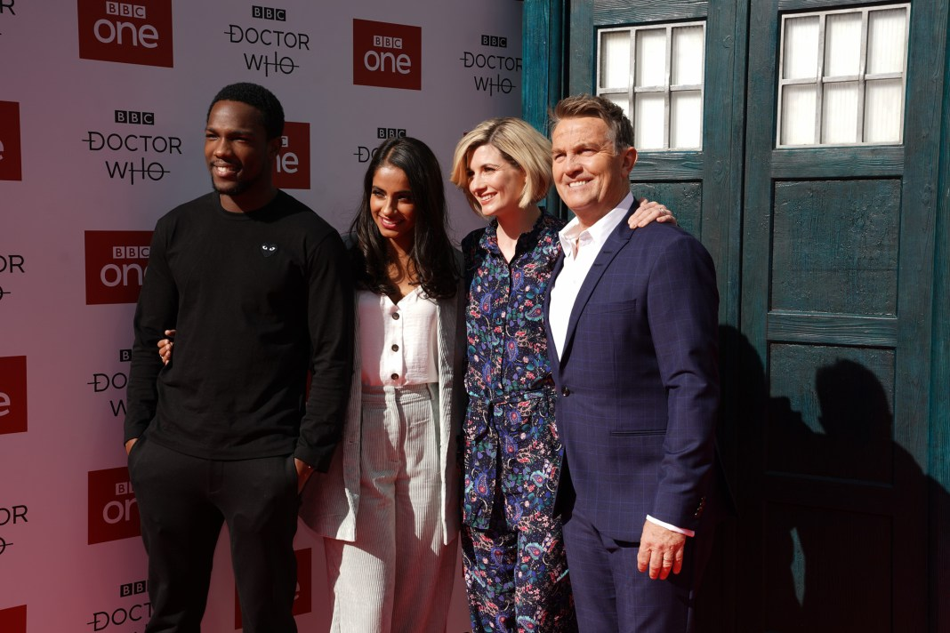 Doctor Who Premiere - : Red Carpet Launch Ryan (TOSIN COLE), Yaz (MANDIP GILL), The Doctor (JODIE WHITTAKER), Graham (BRADLEY WALSH) - (C) BBC - Photographer: Ben Blackall