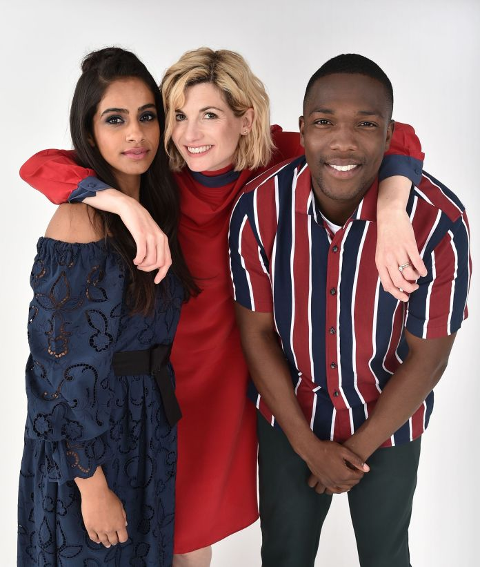Mandip Gill, Jodie Whittaker and Tosin Cole- 'Doctor Who' Exclusive - ' Variety Portrait Studio Comic-Con, Day 3, San Diego, USA - 21 Jul 2018 - Photo by Andrew H. Walker