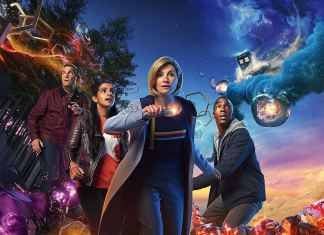 Doctor Who: The Complete Series 11 DVD Cover. Graham (BRADLEY WALSH), Yaz (MANDIP GILL), The Doctor (JODIE WHITTAKER), Ryan (TOSIN COLE) - (C) BBC / BBC Studios - Photographer: Henrik Knudsen