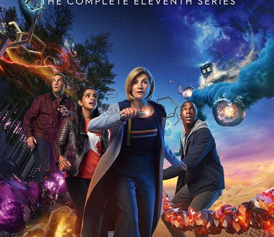 Doctor Who: The Complete Series 11 DVD Cover. Graham (BRADLEY WALSH), Yaz (MANDIP GILL), The Doctor (JODIE WHITTAKER), Ryan (TOSIN COLE) - (C) BBC / BBC Studios - Photographer: Henrik Knudsen