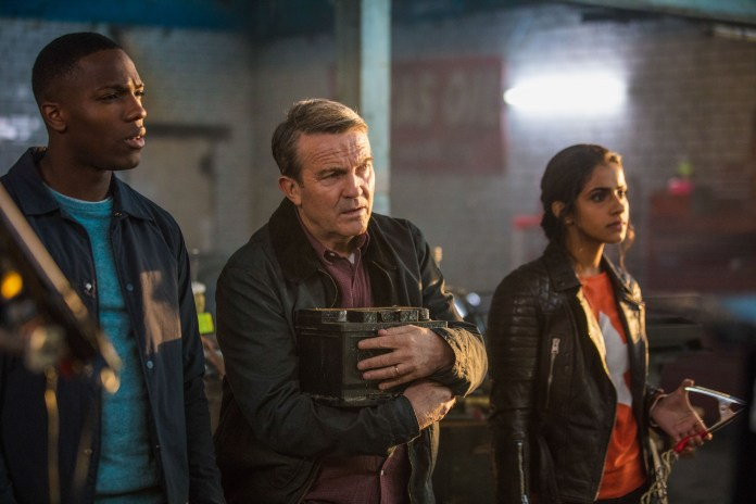 Doctor Who - Series 11 - Episode 1 - The Woman Who Fell To Earth - Ryan (TOSIN COLE), Graham (BRADLEY WALSH), Yaz (MANDIP GILL) - (C) BBC / BBC Studios - Photographer: Ben Blackall