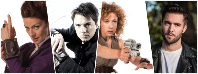 Missy (Michelle Gomez), Captain Jack Harkness (John Barrowman), River Song (Alex Kingston) and Krasko (Josh Bowman) are some of those to use 'cheap and nasty time travel' on Doctor Who (c) BBC