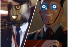The Conductor robot from The Greatest Show in the Galaxy and a Kerblam Bot from Kerblam! (c) BBC Studios