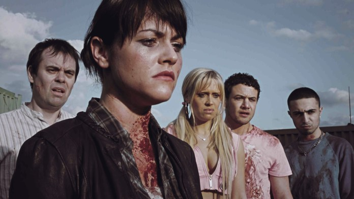 Kevin Eldon as Joplin, alongside Jamie Winstone (Kelly), Beth Cordingly (Veronica), Warren Brown (Marky) and Adam Deacon (Space) in Charlie Brooker's Big Brother zombie drama (c) Channel 4