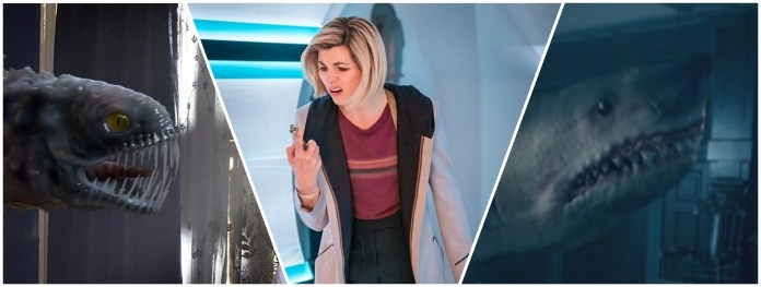 Prisoner Zero and the Pting both spat the sonic screwdriver out again, the sky shark bit it clean in two (c) BBC Studios