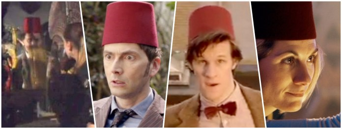 The Doctor (Sylvester McCoy, David Tennant, Matt Smith, and Jodie Whittaker) will one day be able to pass up a fez. This is not that day. (c) BBC Studios